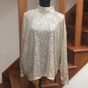 H&M Holiday Blouse Sequin, Unlined ✨